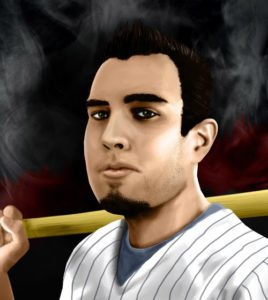 Armando has an olive skin with beard only goatee and black hair. In this image he is in baseball uniform with a baseball bat over his right shoulder.