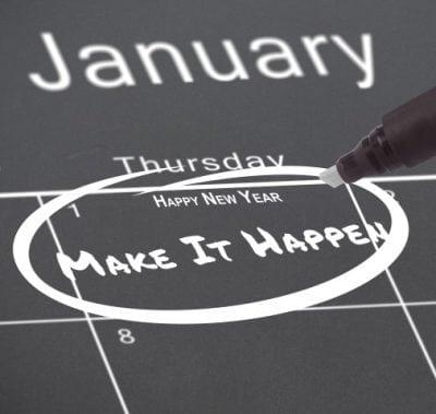 "January 1st circled on a calendar with ""Make It Happen"" written inside the calendar box."